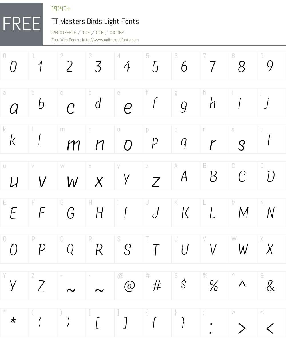 TTMastersBirds-Light Font Screenshots