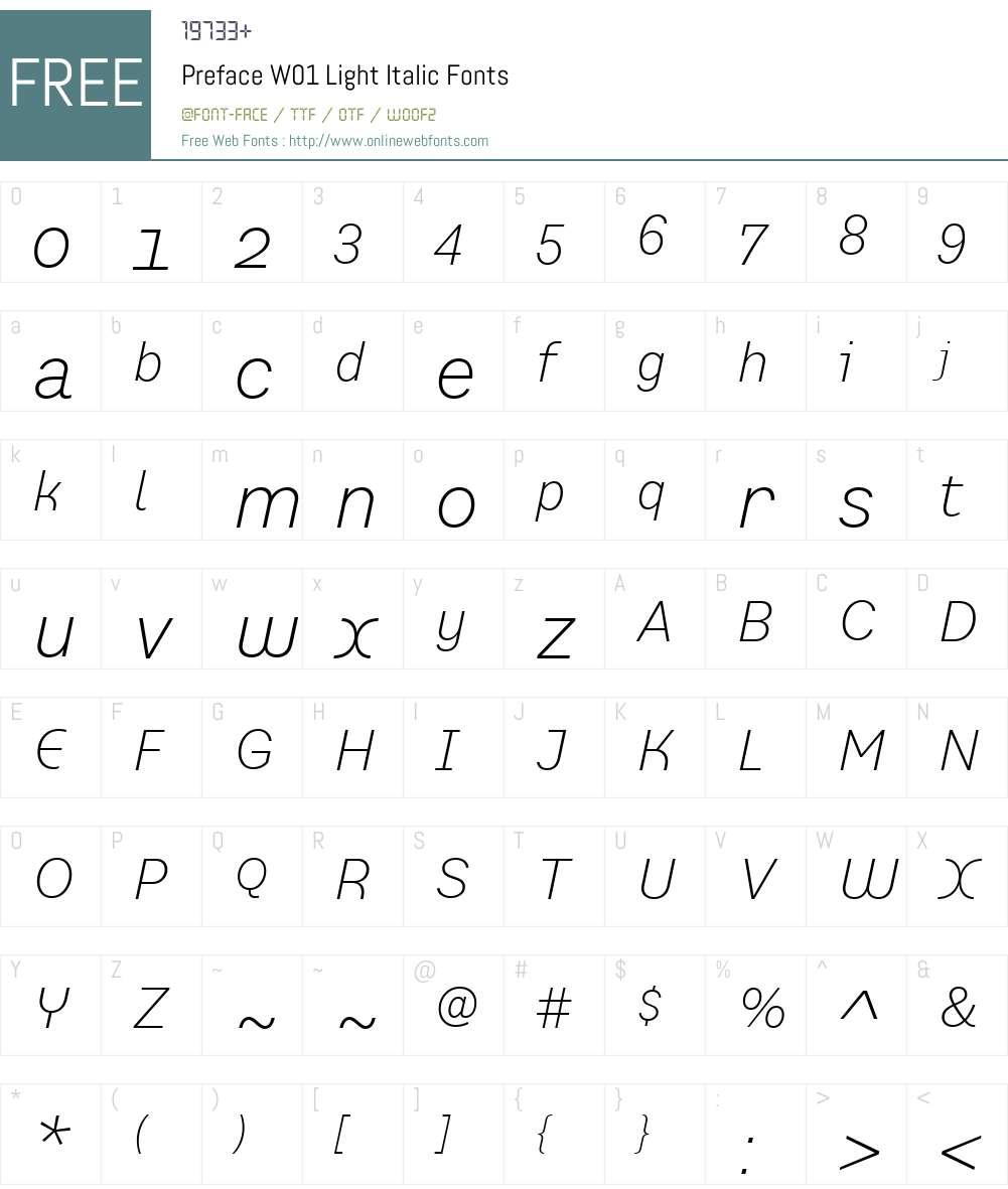 PrefaceW01-LightItalic Font Screenshots