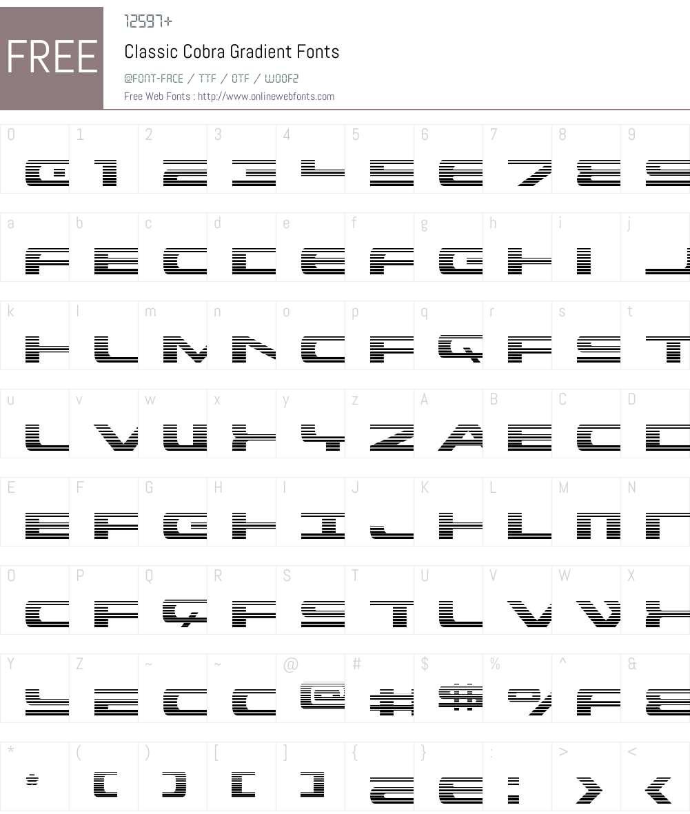 Classic Cobra Gradient Font Screenshots