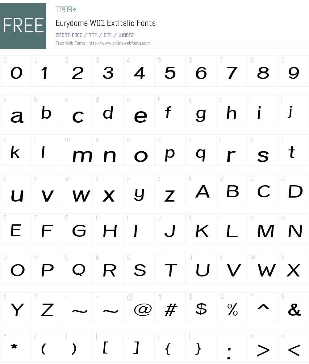 EurydomeW01-ExtItalic Font Screenshots