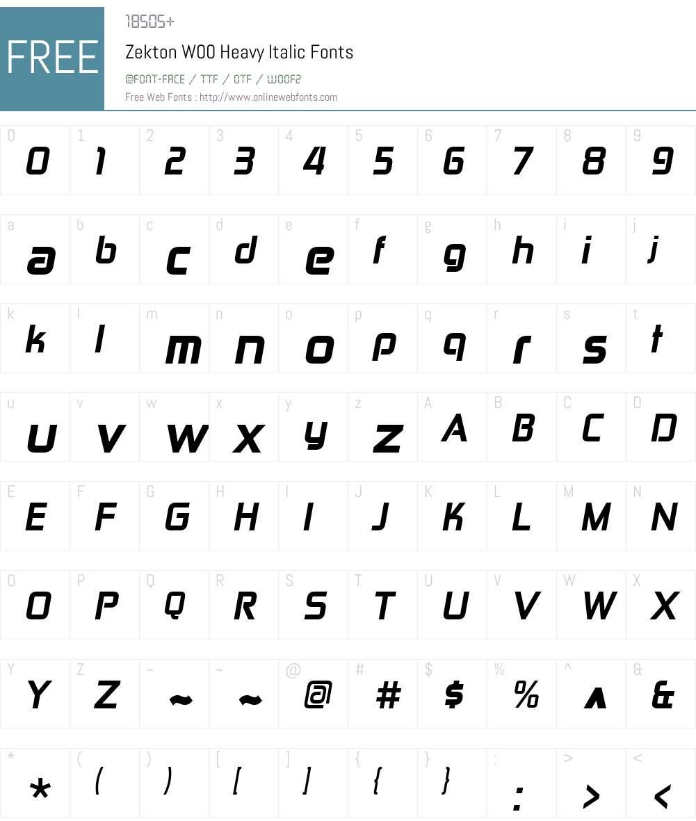 ZektonW00-HeavyItalic Font Screenshots