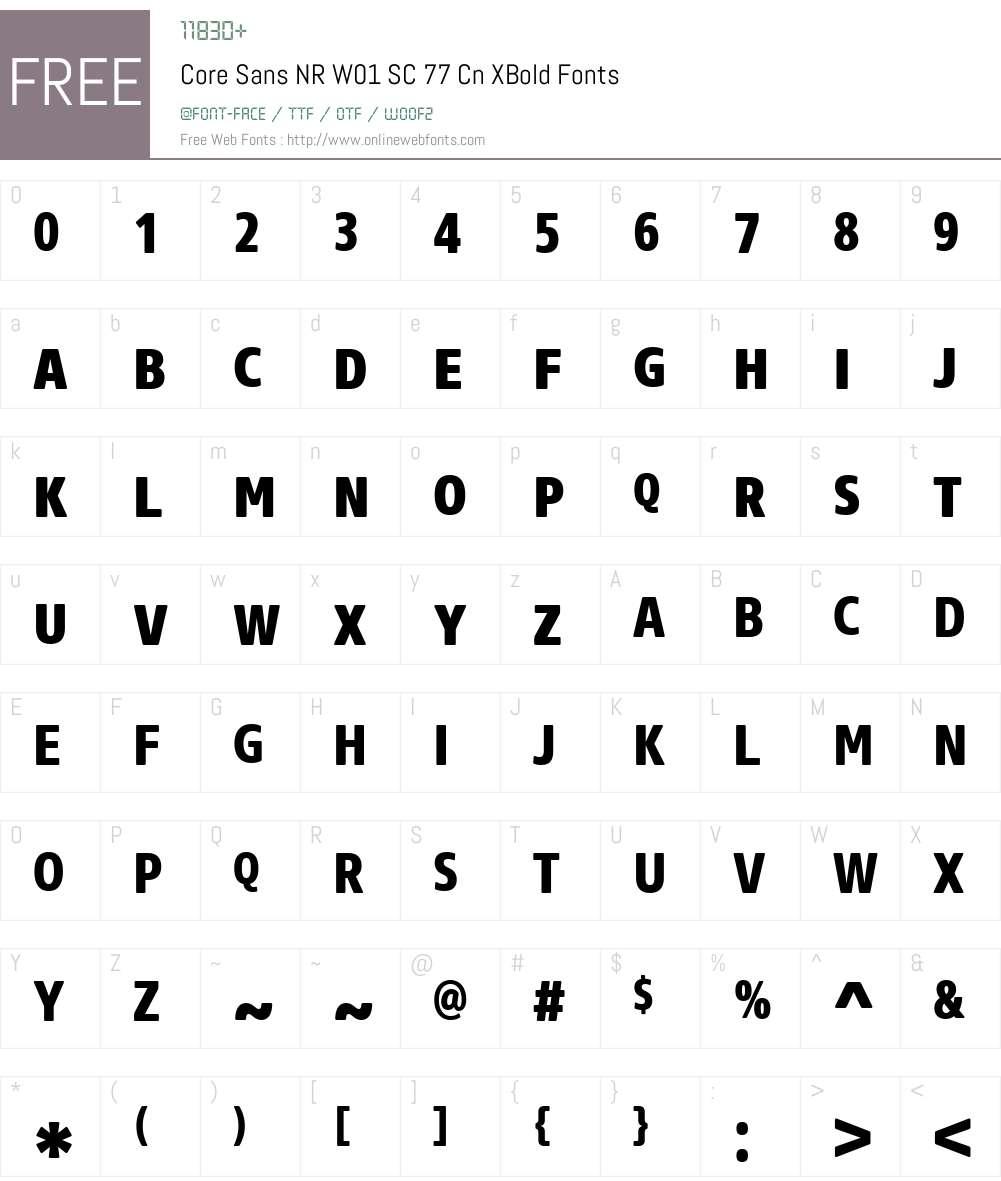 CoreSansNRW01-SC77CnXBold Font Screenshots