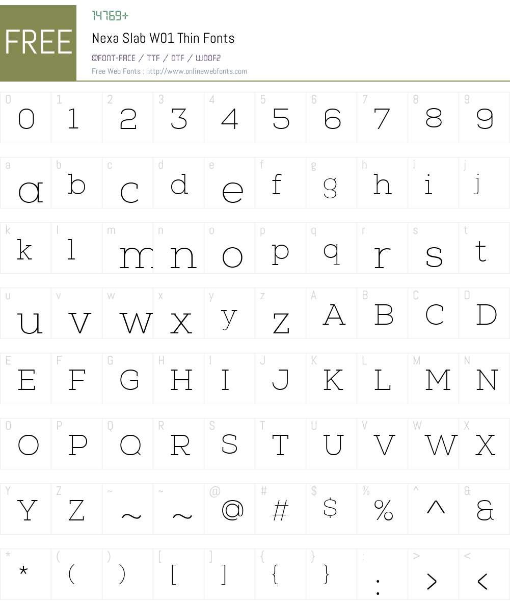 NexaSlabW01-Thin Font Screenshots