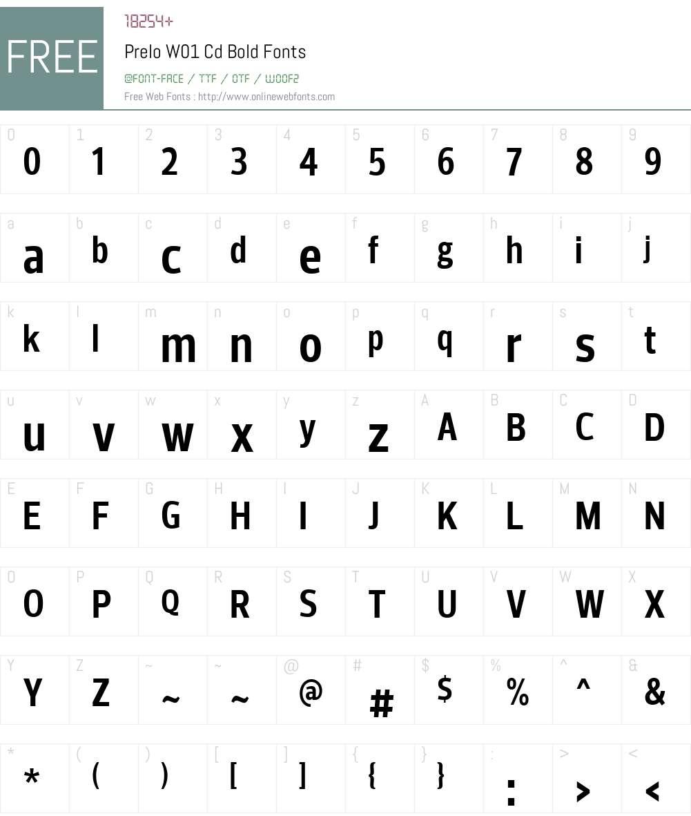 PreloW01-CdBold Font Screenshots