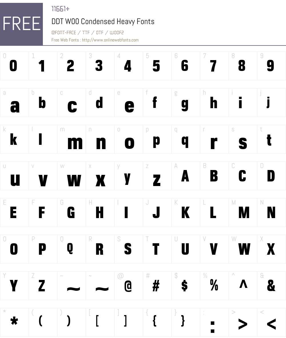 DDTW00-CondensedHeavy Font Screenshots
