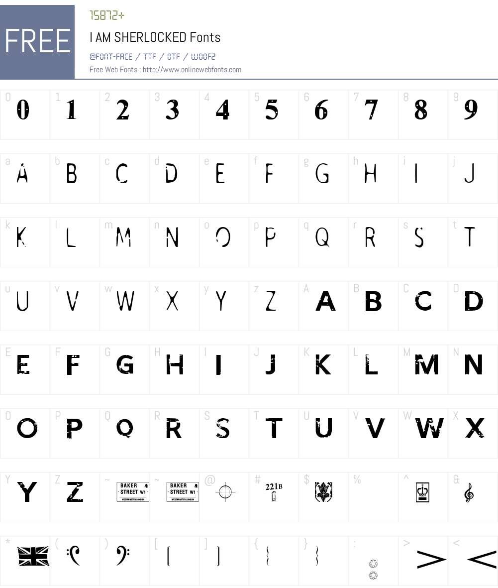 I AM SHERLOCKED Font Screenshots