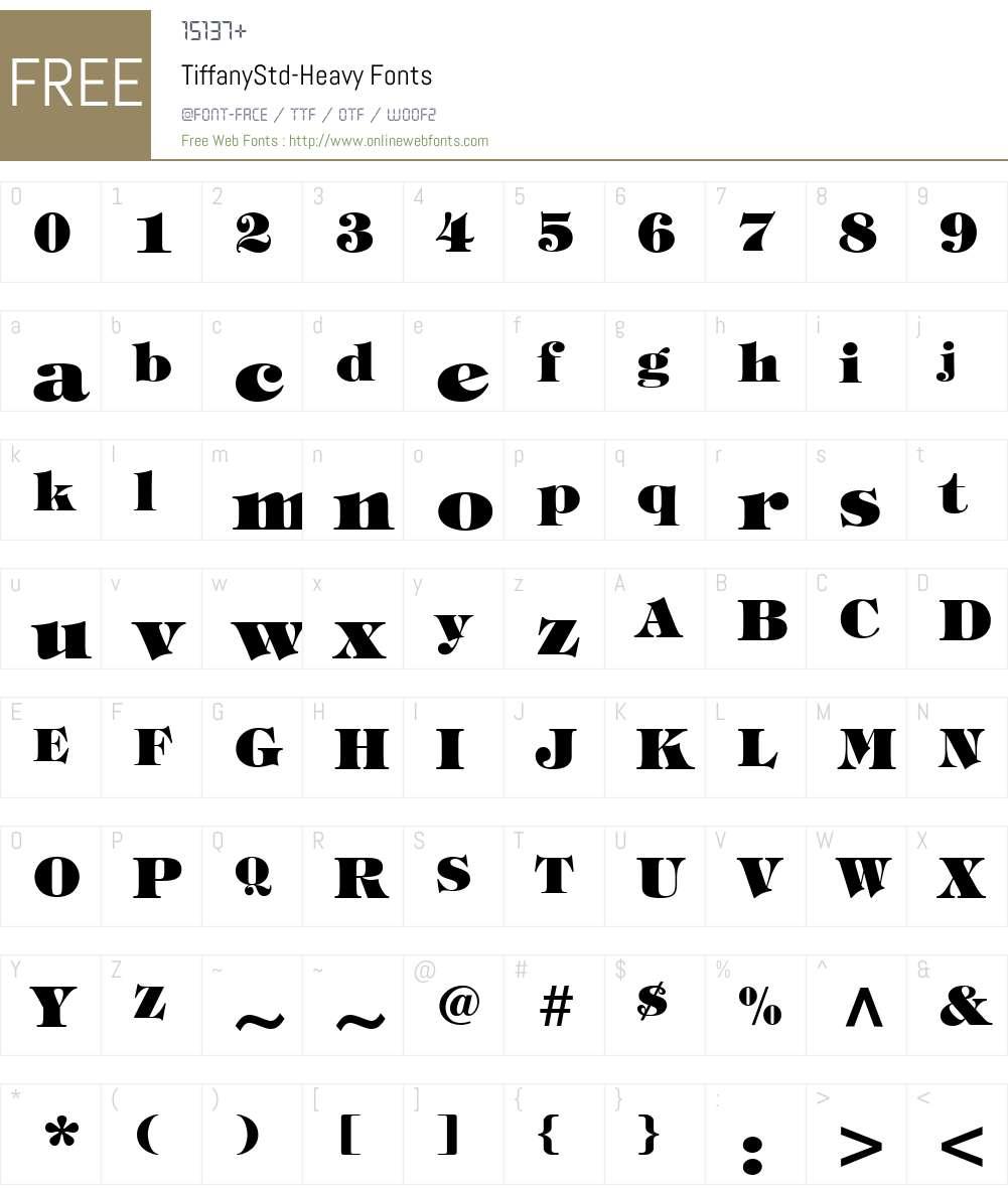 TiffanyStd-Heavy Font Screenshots