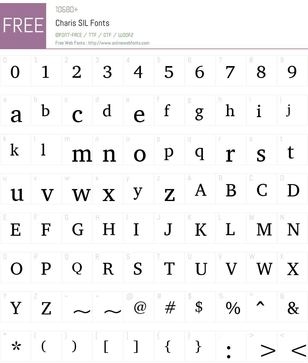 Charis SIL Font Screenshots