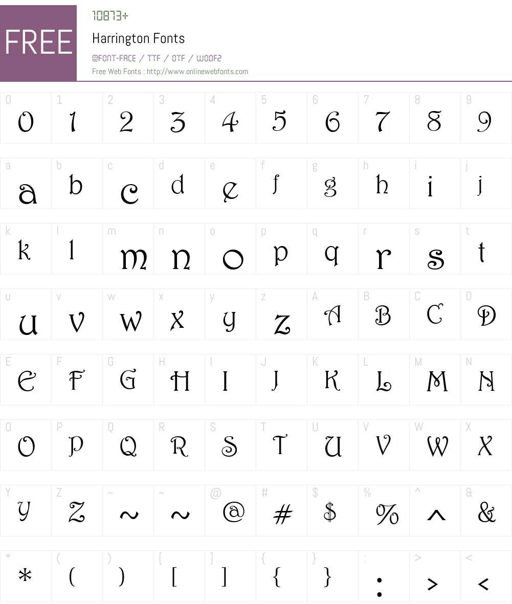 Harrington Font Screenshots