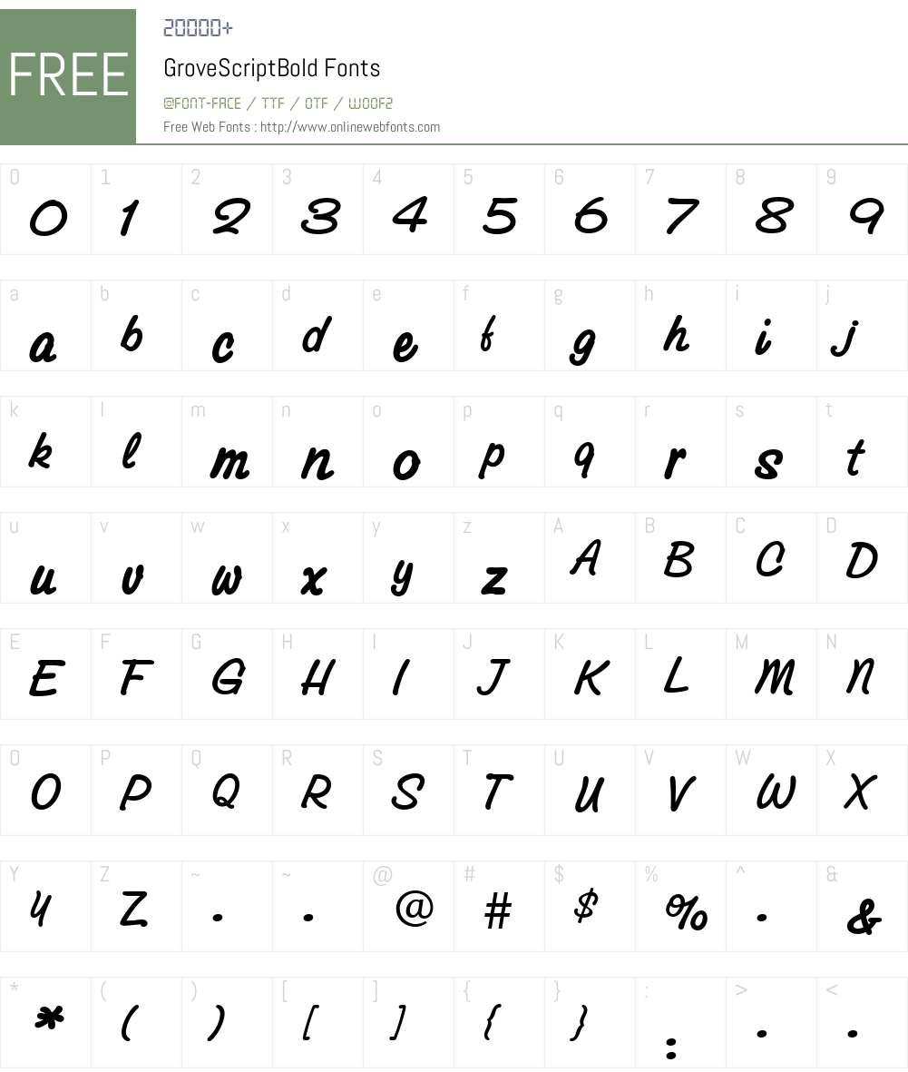 GroveScriptBold Font Screenshots