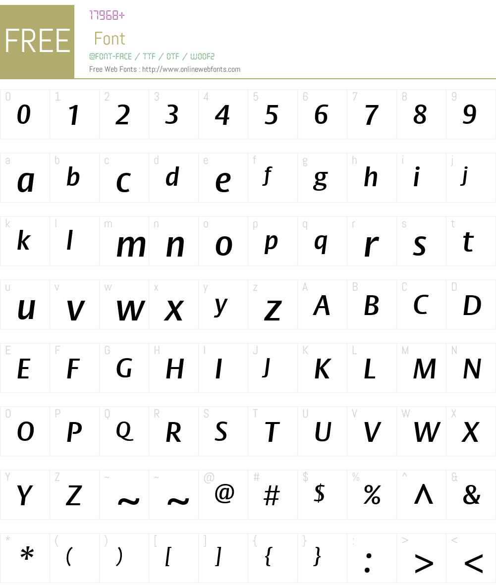 BigVestaW01-SemiBoldItalic Font Screenshots