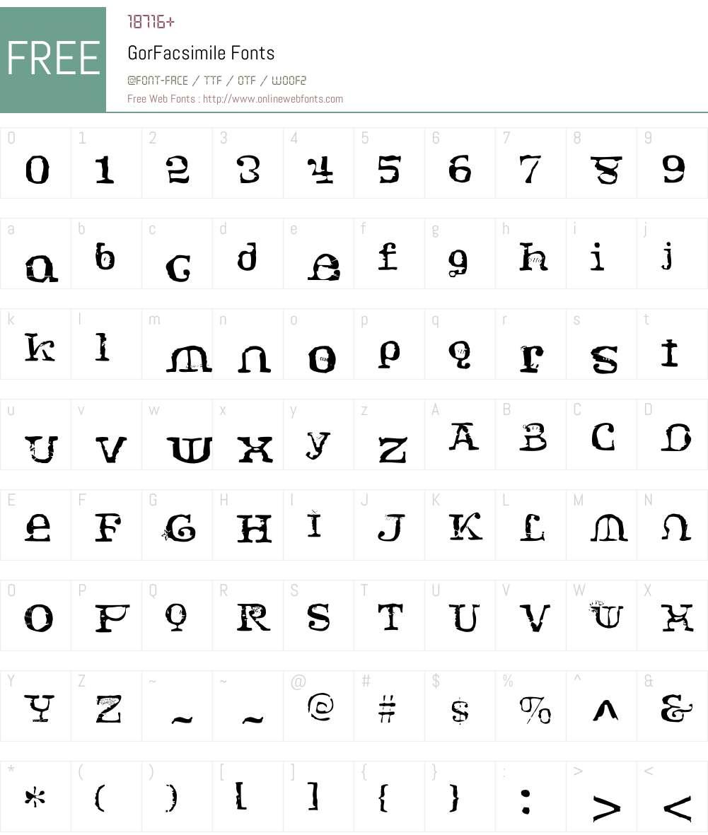 GorW00-Facsimile Font Screenshots