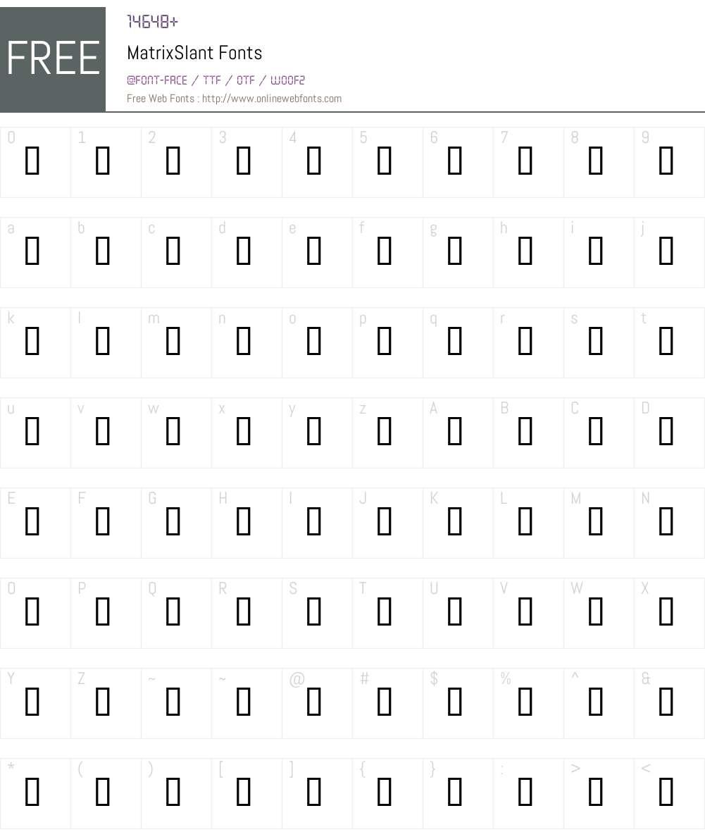 MatrixSlant Font Screenshots