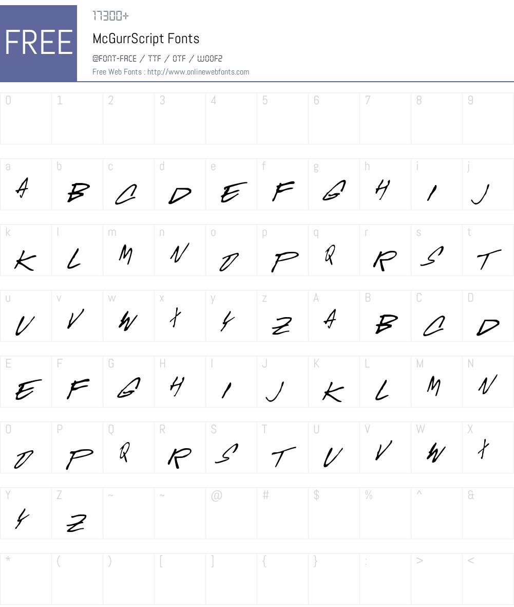 McGurrScript Font Screenshots