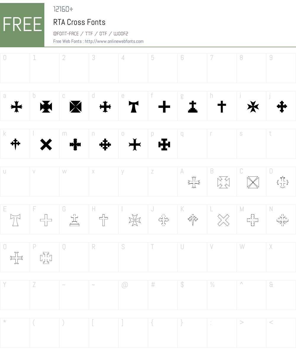 RTA Cross Font Screenshots
