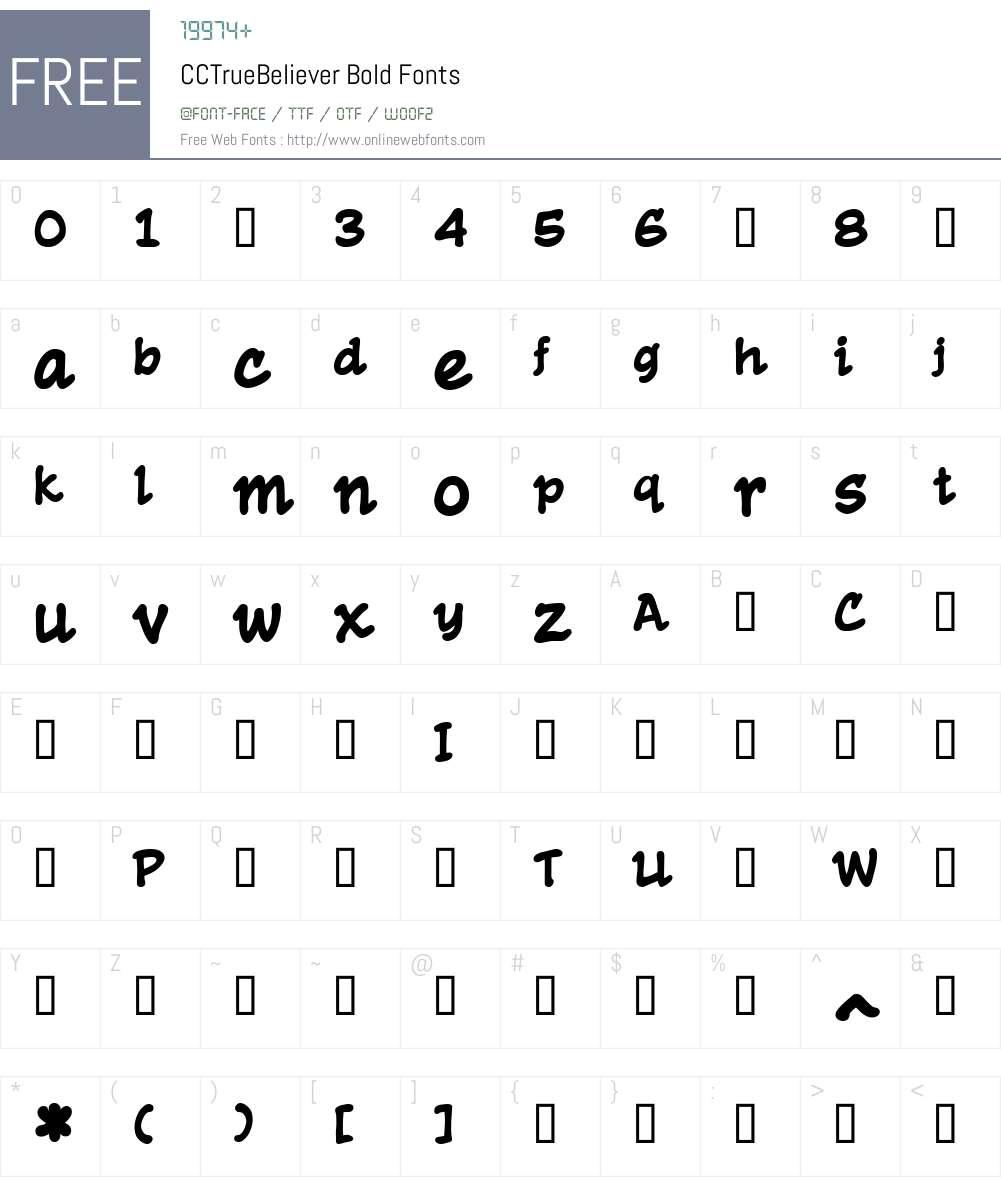 CCTrueBeliever-Bold Font Screenshots