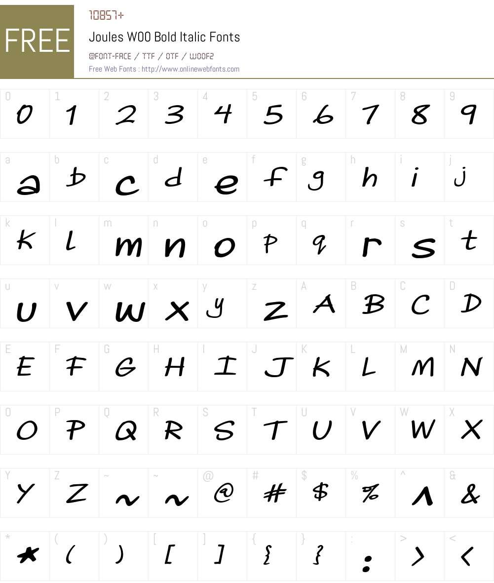 JoulesW00-BoldItalic Font Screenshots