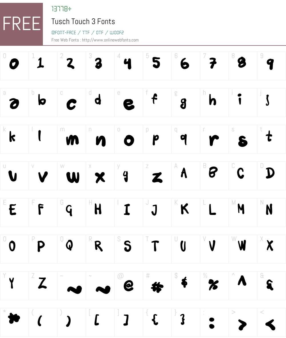 Tusch Touch 3 Font Screenshots