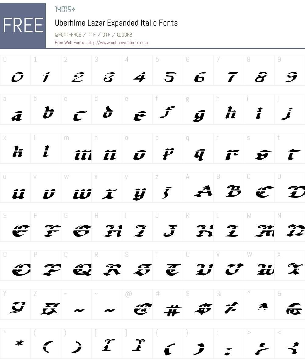 Uberhlme Lazar Expanded Italic Font Screenshots