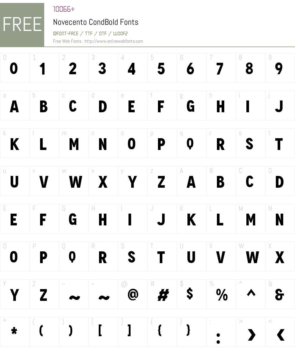 Novecento Cond Bold Font Screenshots