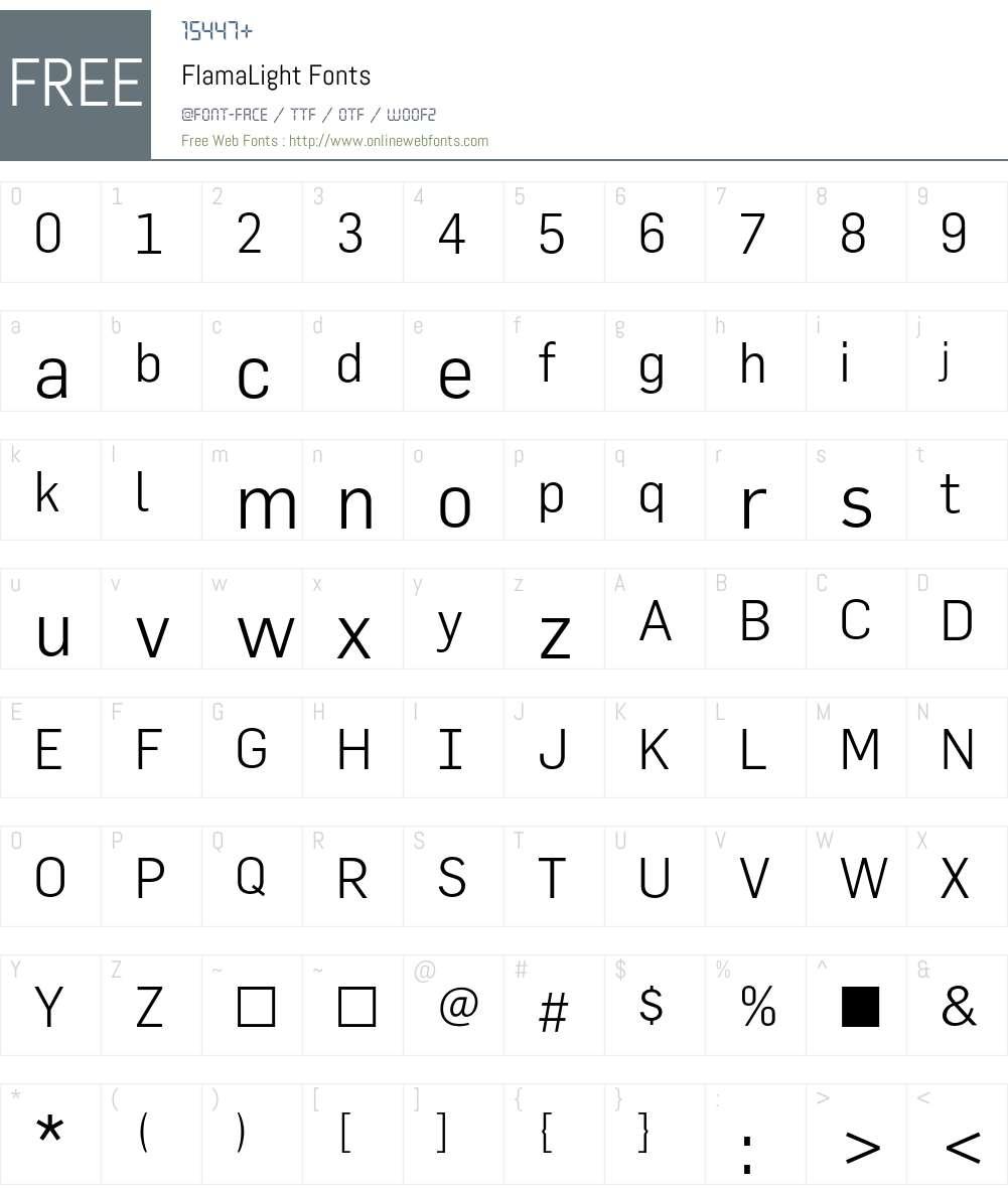 FlamaLight Font Screenshots
