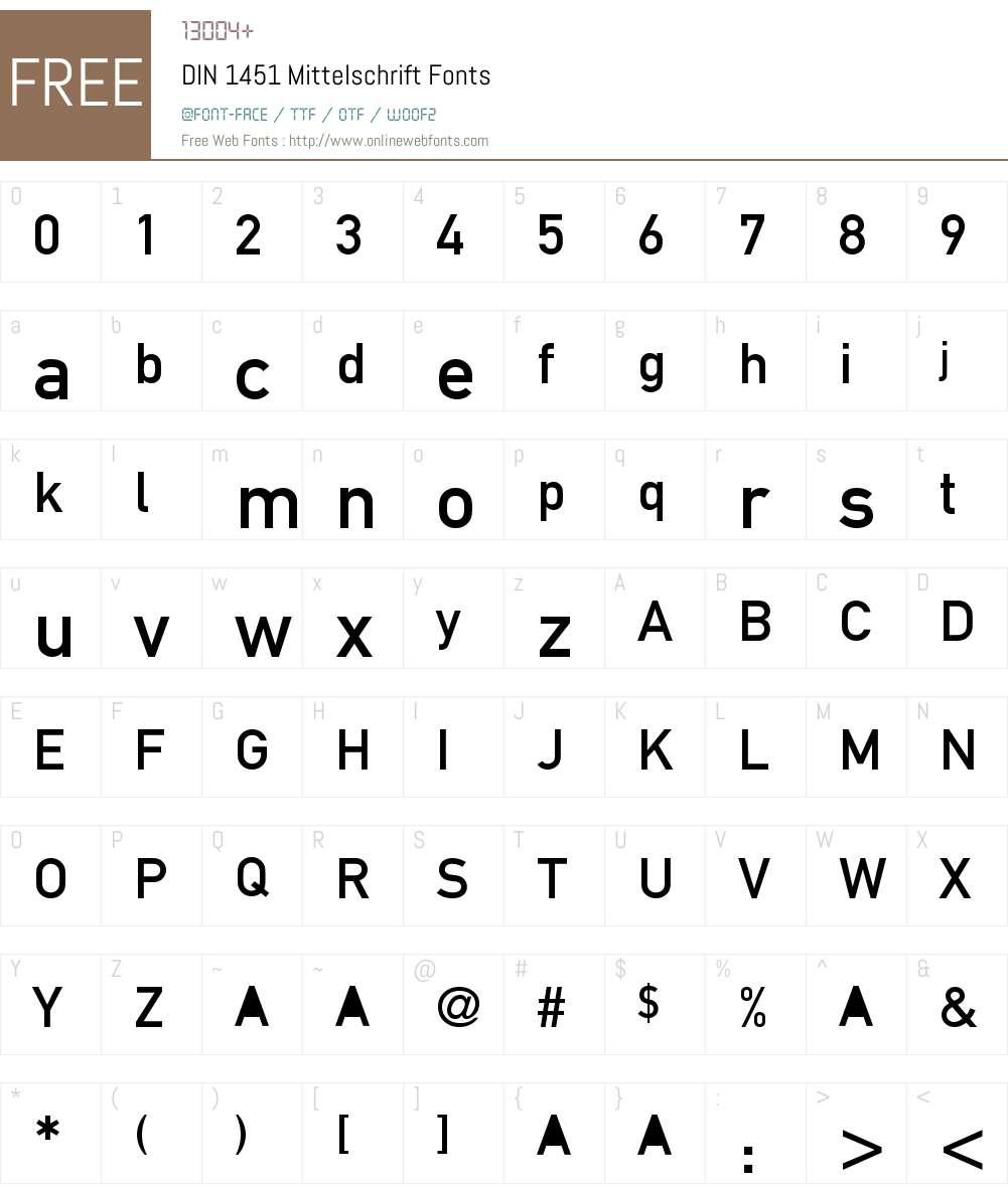 DIN 1451 Mittelschrift Font Screenshots