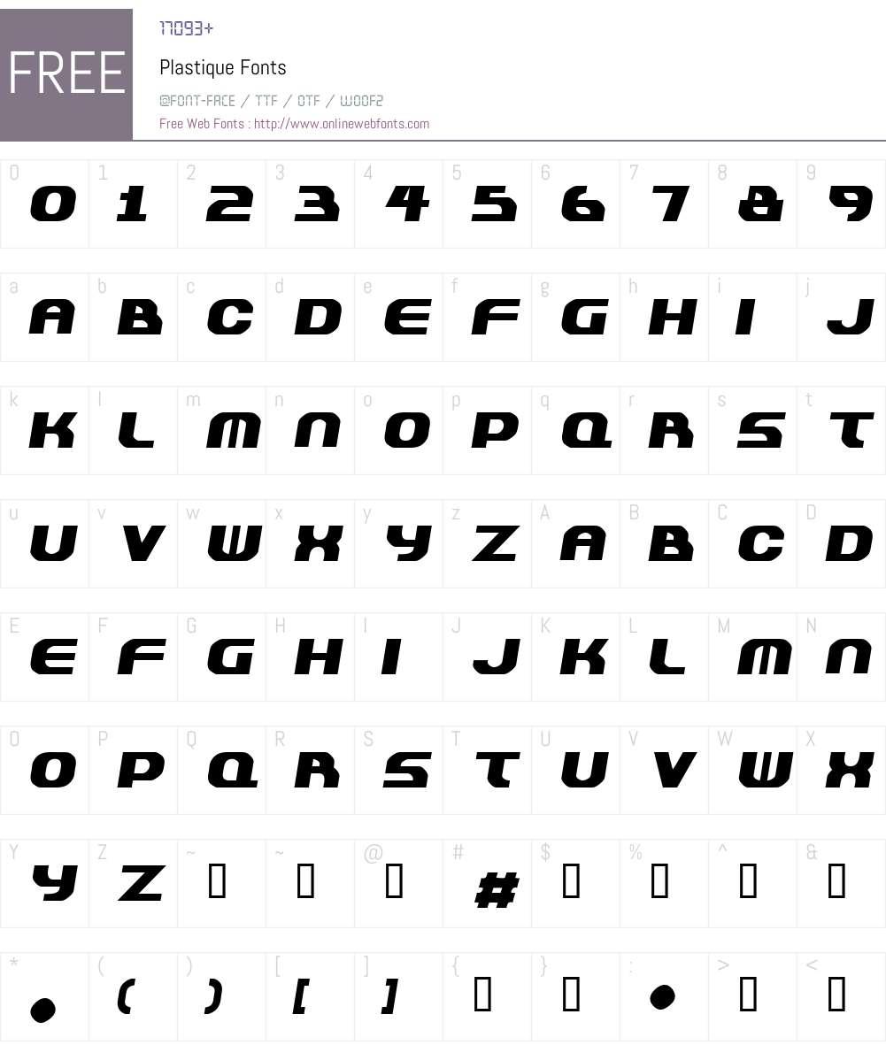 Plastique Font Screenshots