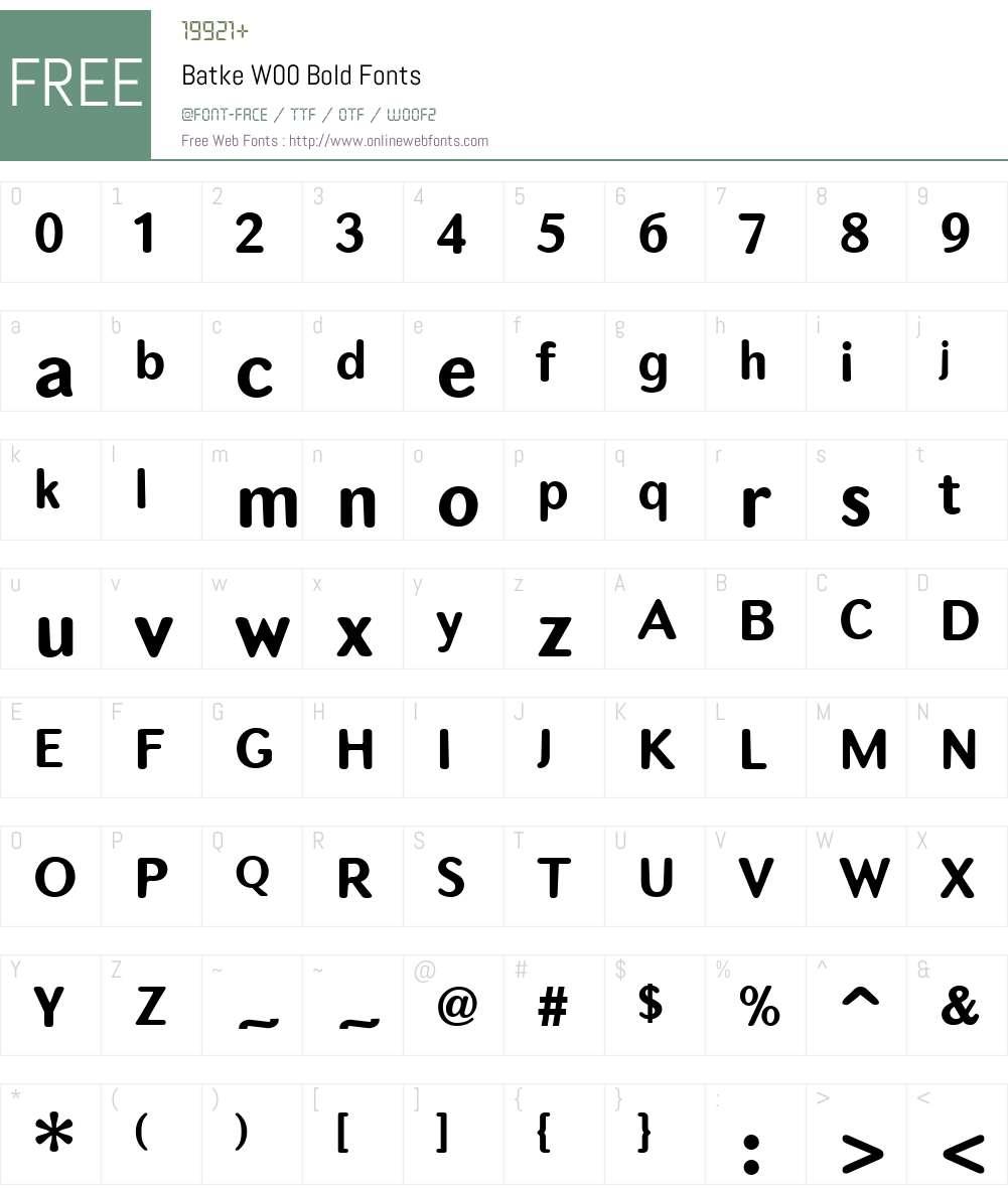 BatkeW00-Bold Font Screenshots
