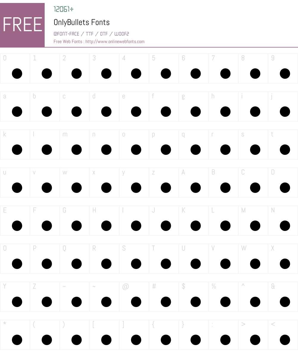 onlyBullets Font Screenshots