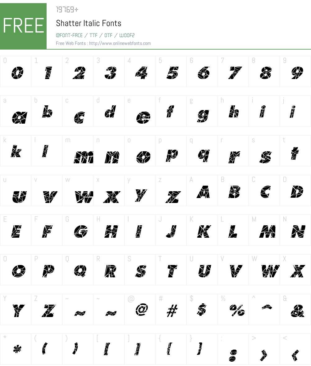 Shatter Font Screenshots