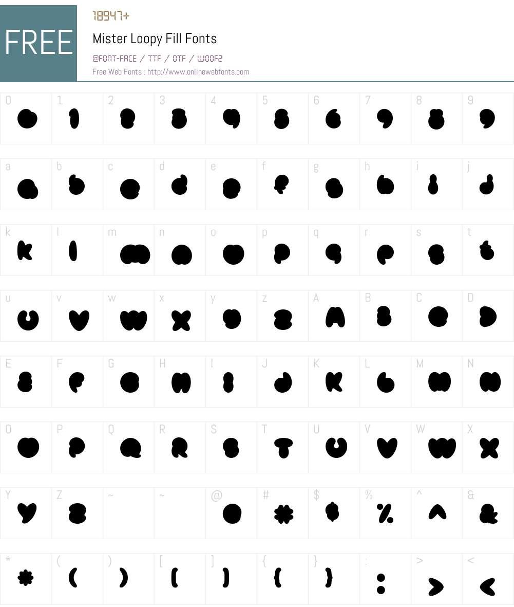 Mister Loopy Fill Font Screenshots
