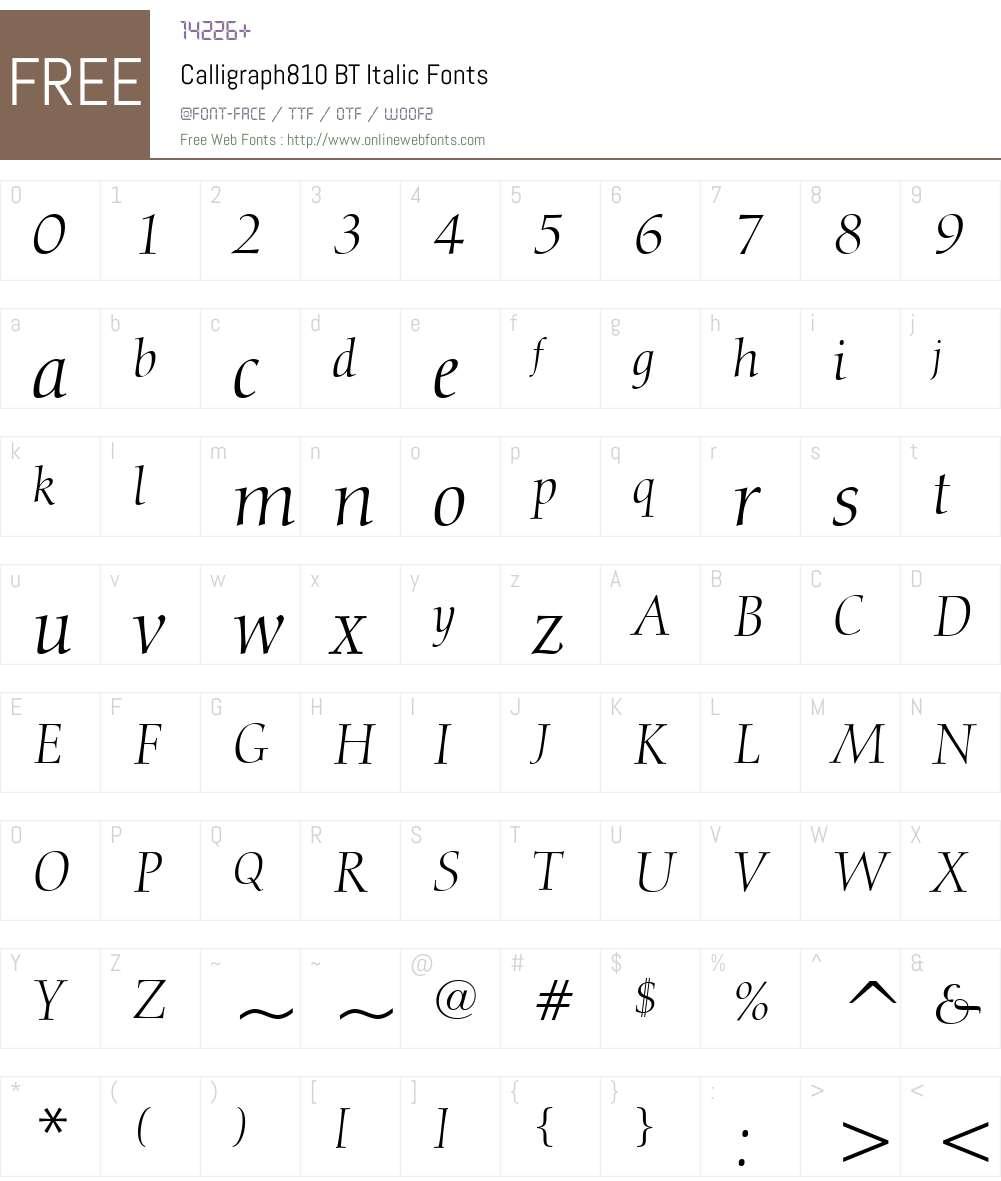 Calligraph810 BT Font Screenshots