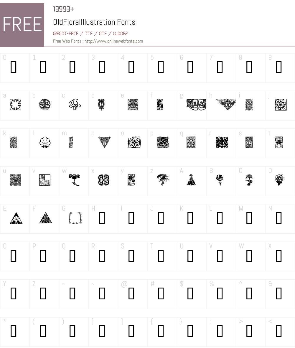 OldFloralIllustration Font Screenshots