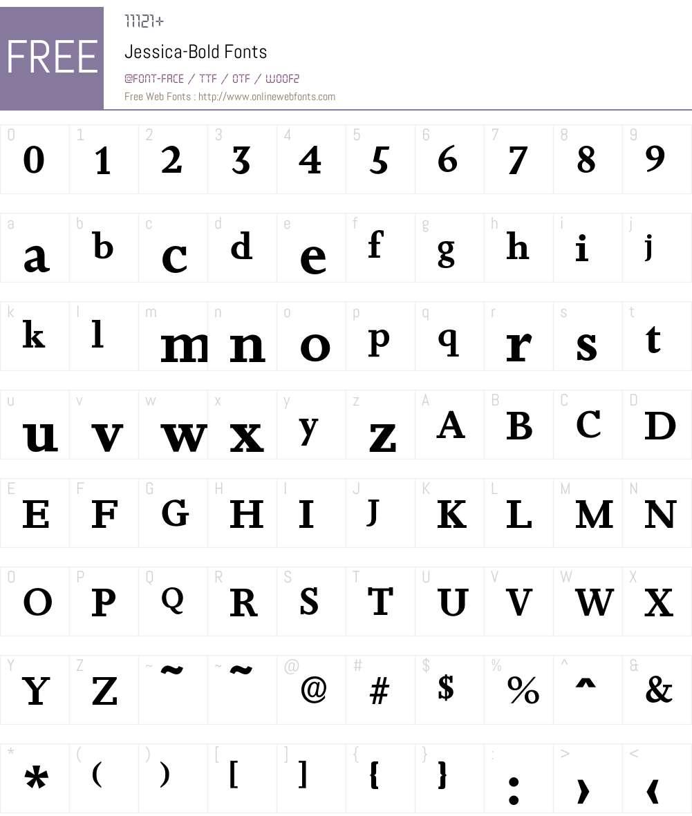 Jessica-Bold Font Screenshots