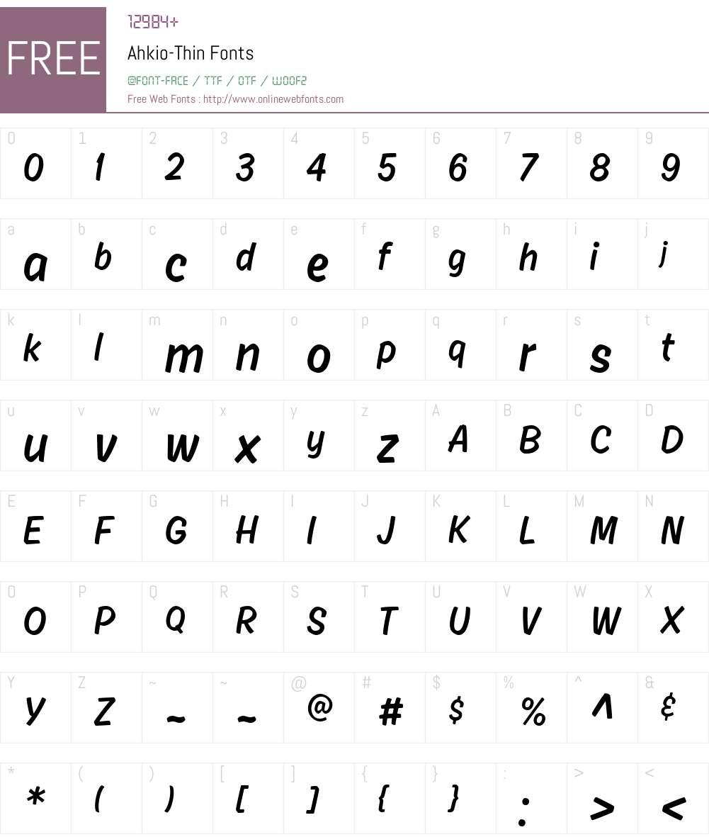 Ahkio-Thin Font Screenshots
