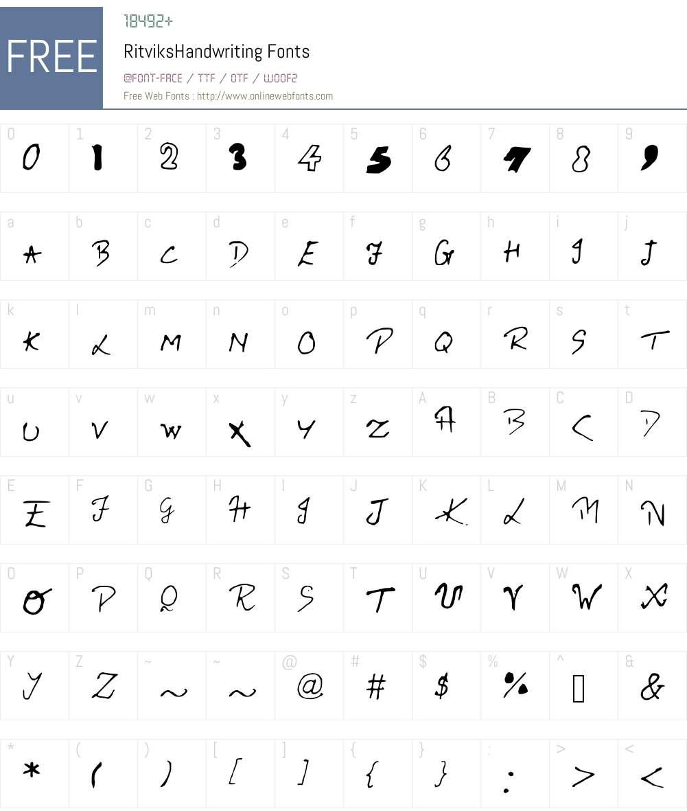 RitviksHandwriting Font Screenshots