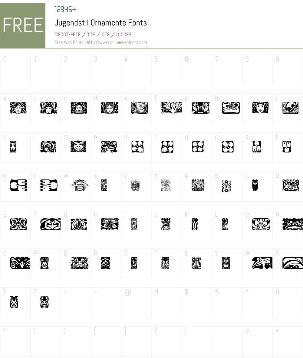 Jugendstil Ornamente Font Screenshots
