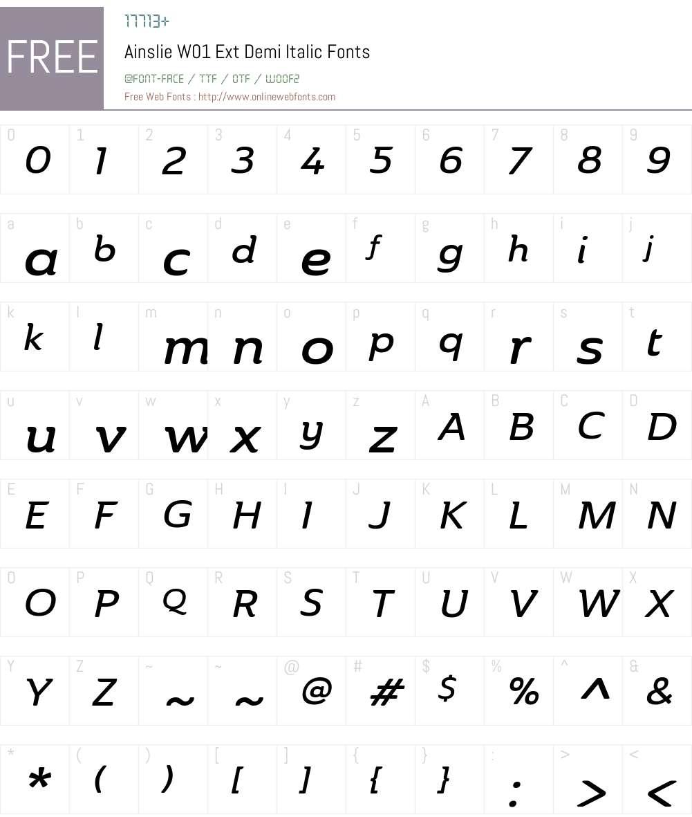 AinslieW01-ExtDemiItalic Font Screenshots