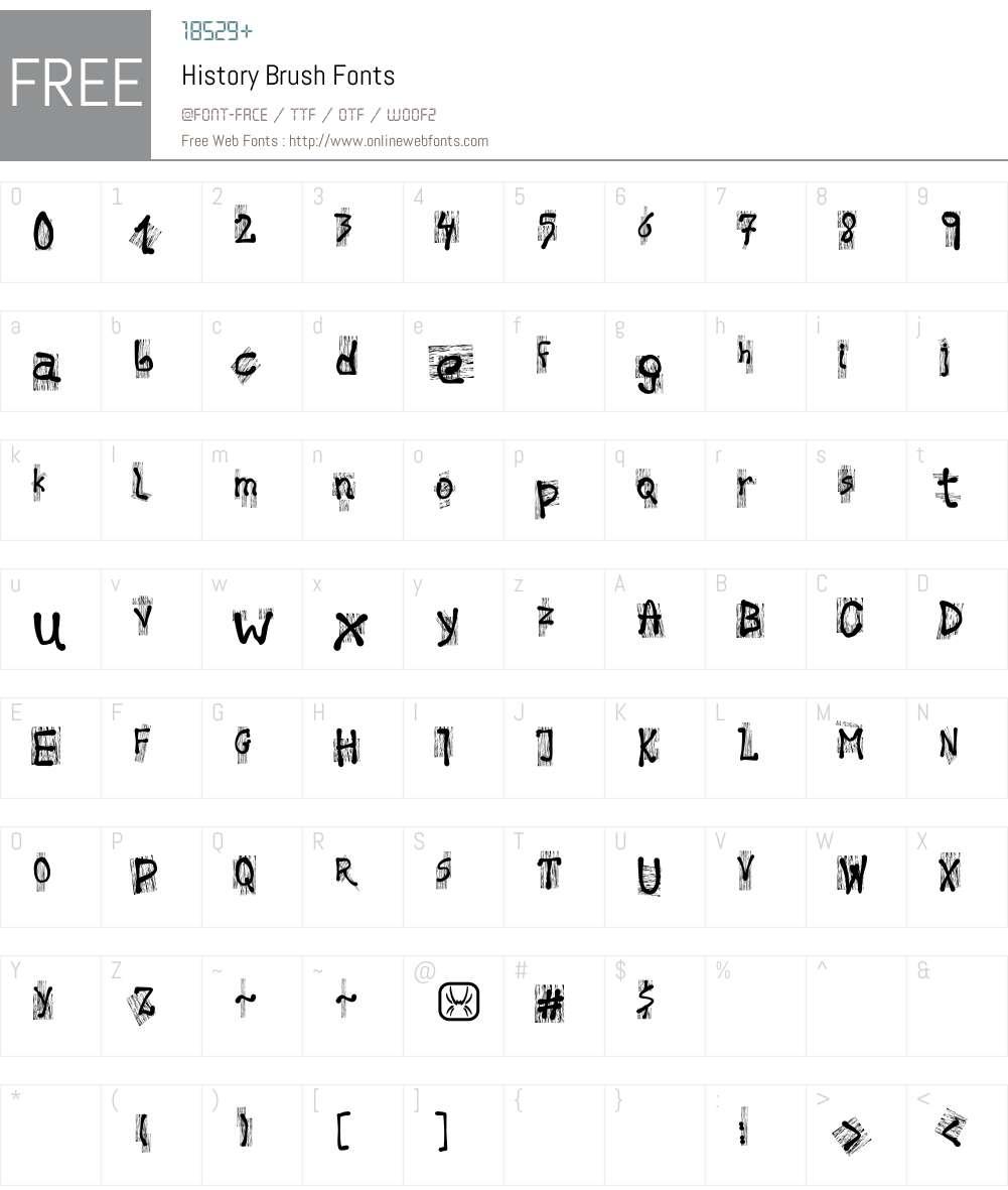 History Brush Font Screenshots