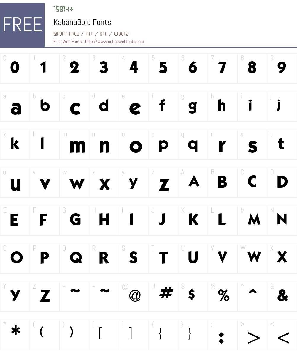 KabanaBold Font Screenshots