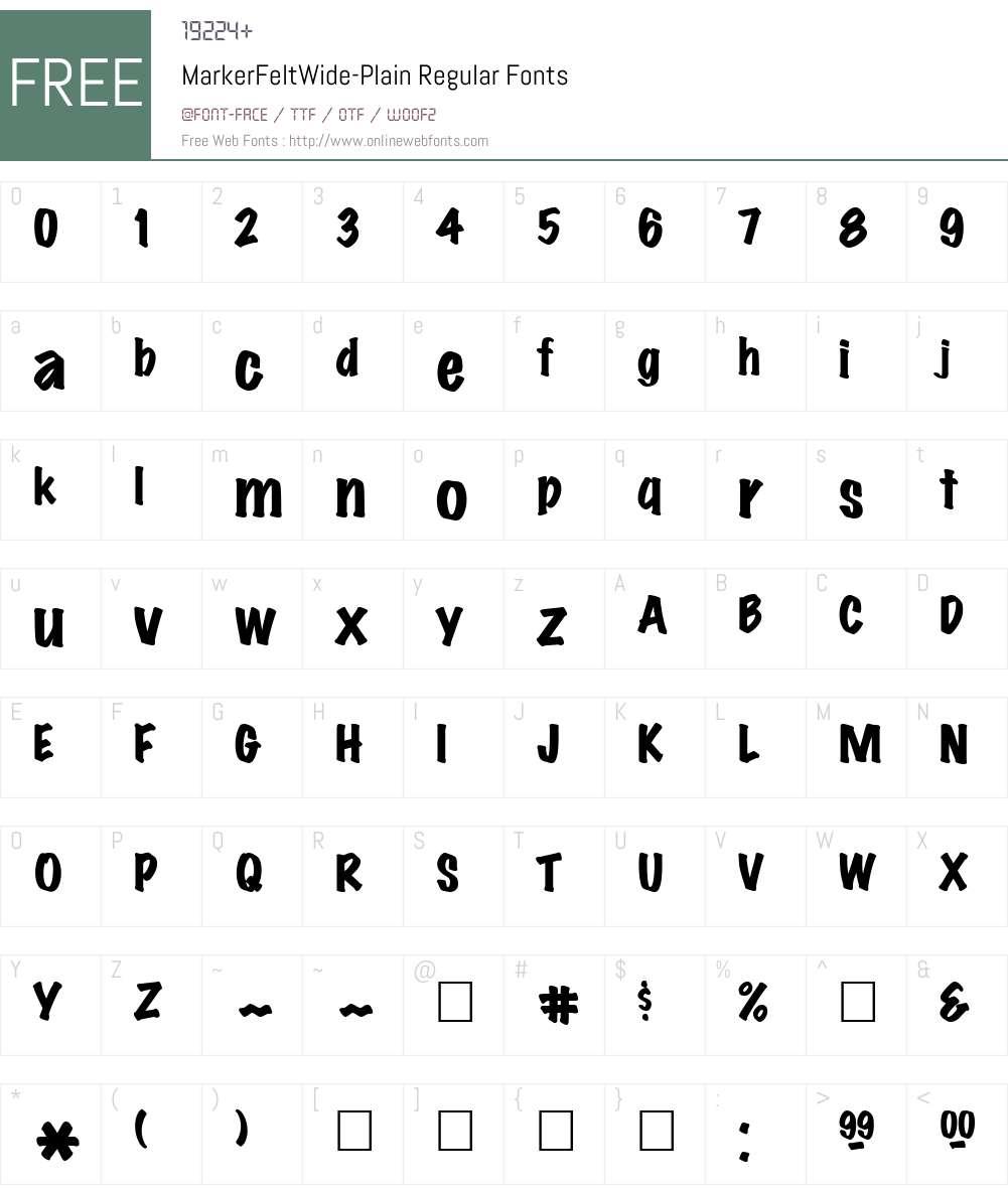 MarkerFeltWide-Plain Font Screenshots