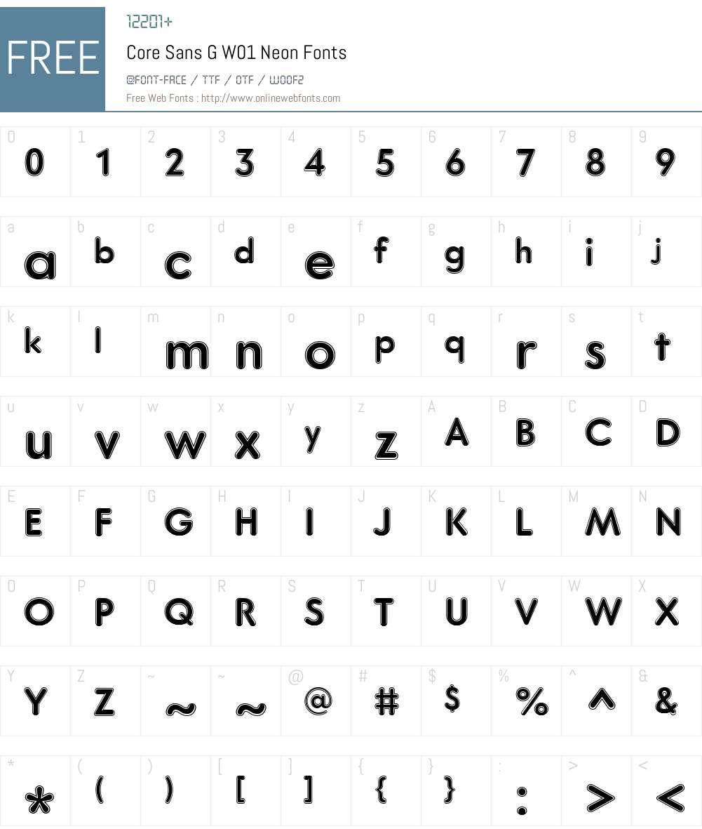 CoreSansGW01-Neon Font Screenshots