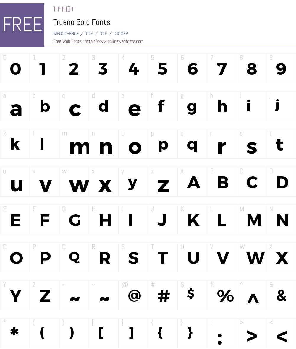 Trueno Font Screenshots