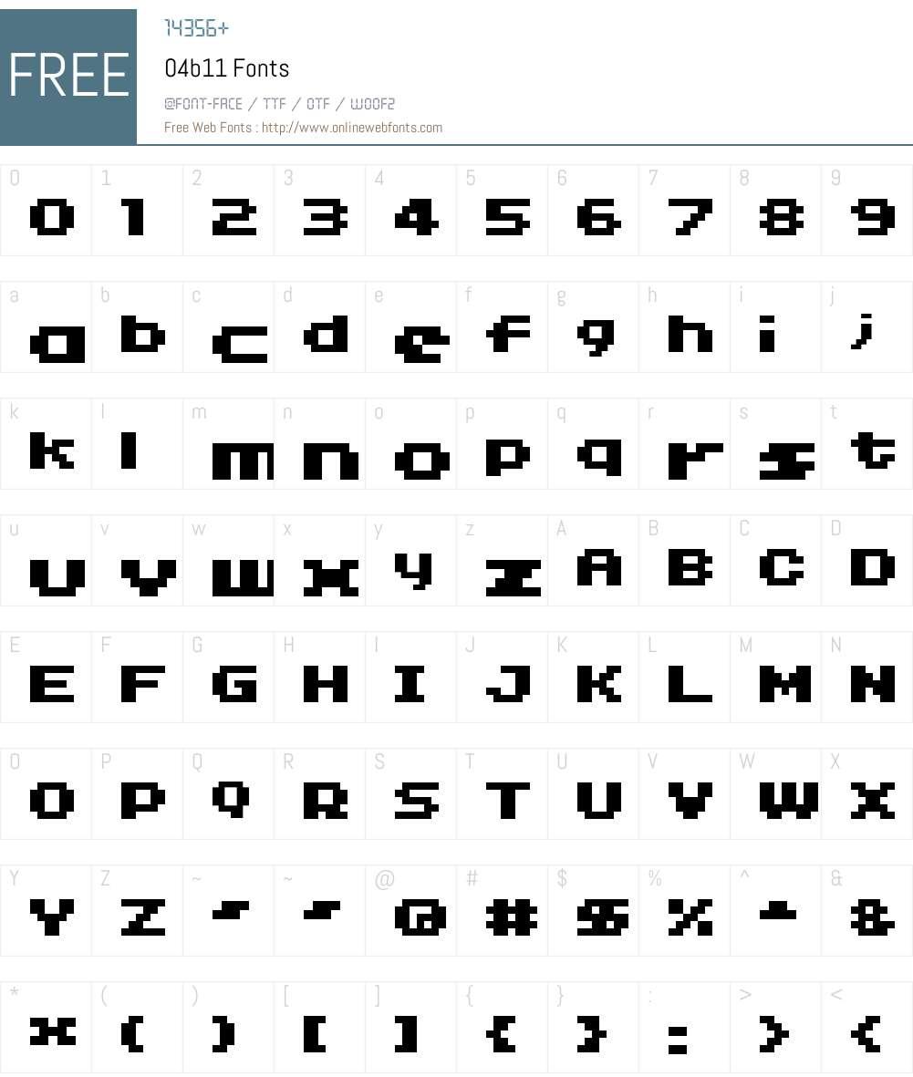 04b11 Font Screenshots