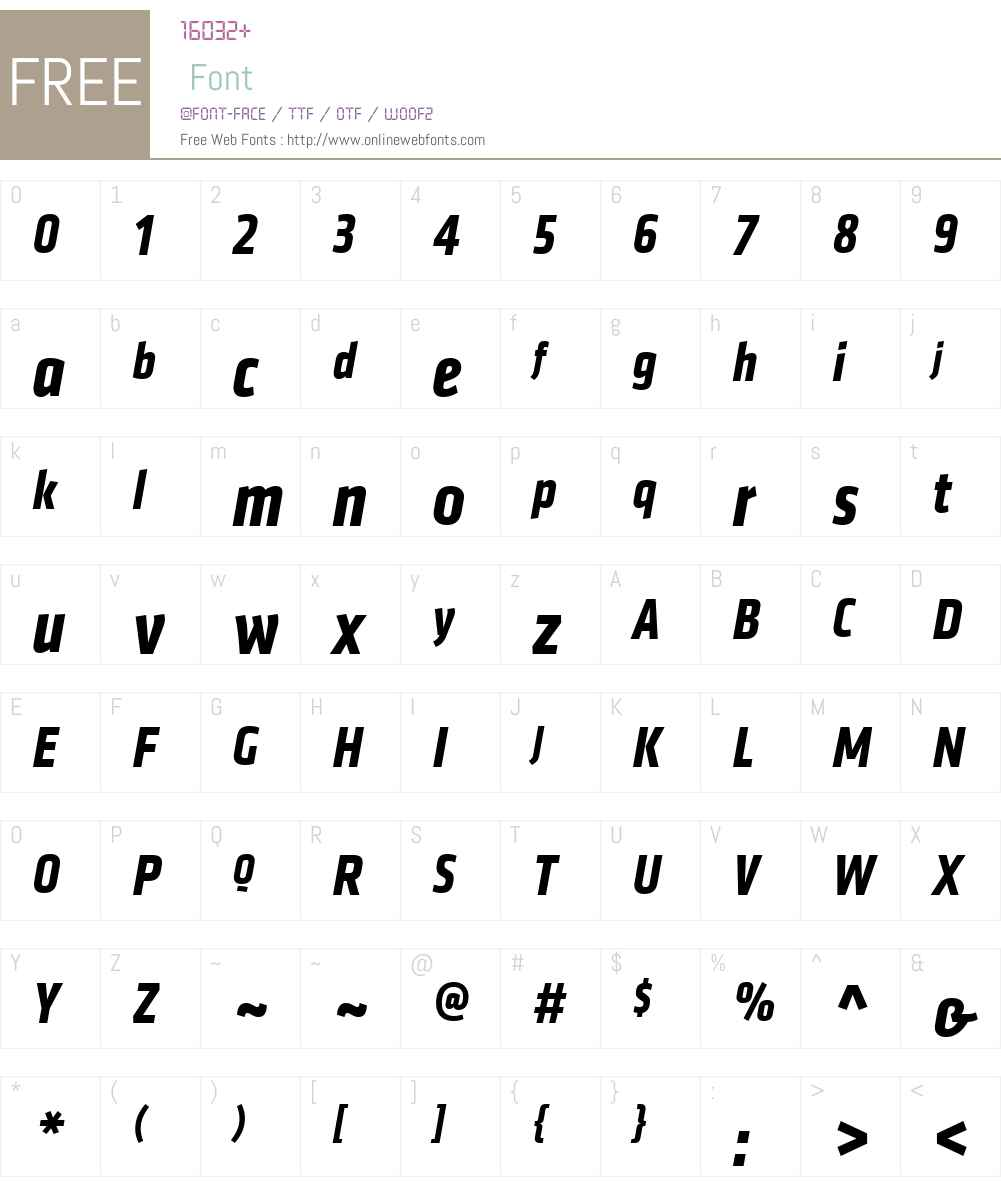 Klavika Web Bold Condensed Italic Font Screenshots
