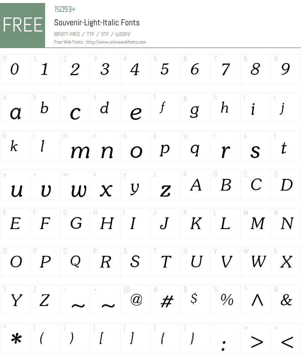 Souvenir-Light-Italic Font Screenshots