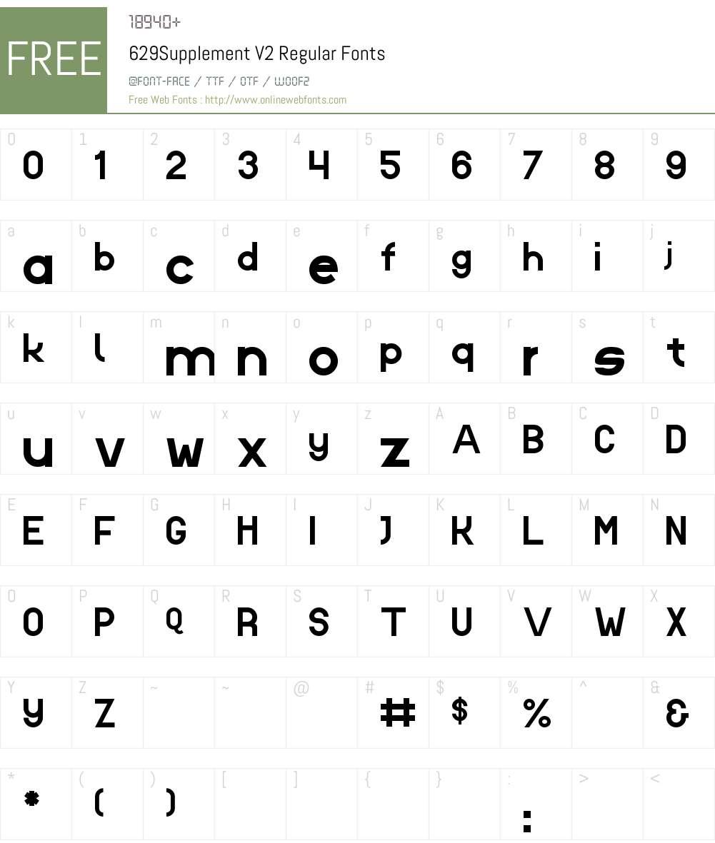 629Supplement V2 Font Screenshots