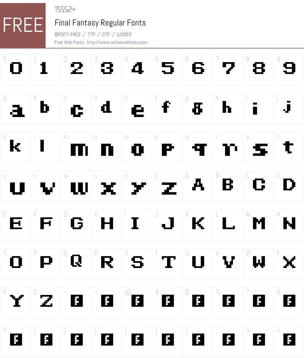 Final Fantasy Font Screenshots