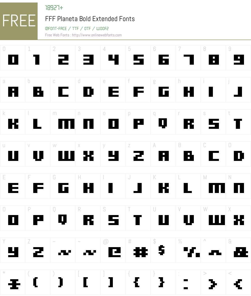 FFF Planeta Bold Extended Font Screenshots