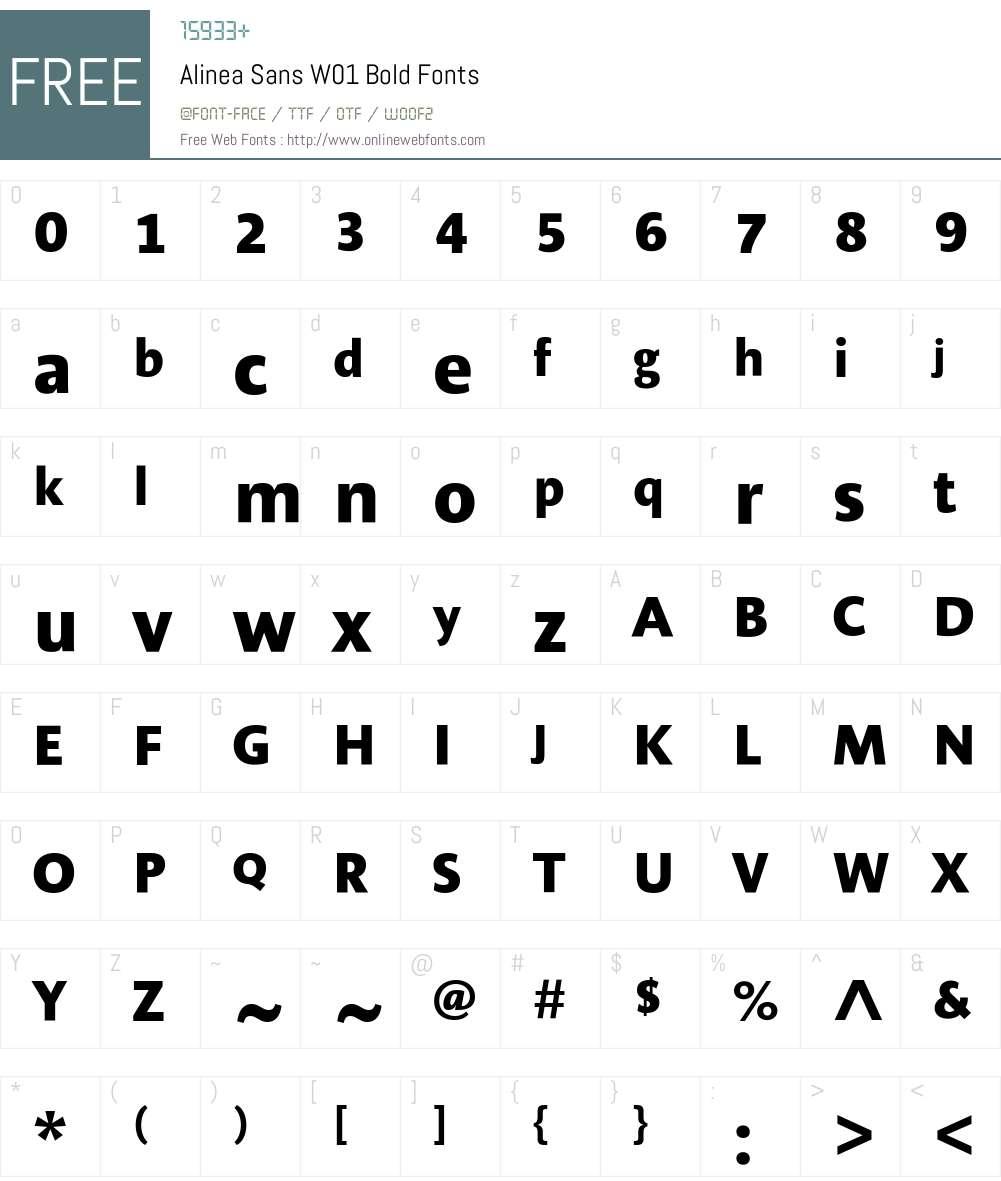 AlineaSansW01-Bold Font Screenshots